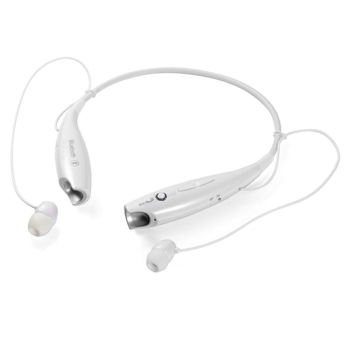 e67558ec8c8 Amazon.com  FastSun Bluetooth Wireless Headset Stereo Headphone Earphone  Sport Handfree Universal (White)  Cell Phones   Accessories
