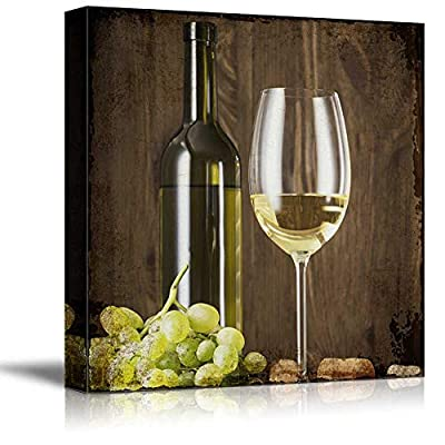Majestic Object of Art, Square Rustic Style Wine in Glass and Wine Bottle with Grapes, Premium Product