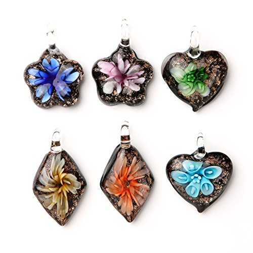 Flower Glass Necklace Kit Hearts Goldtone Fused Glass Pendant 6 Pieces