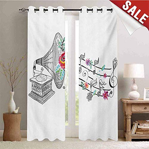 Hengshu Music Thermal Insulating Blackout Curtain Vintage Style Gramophone Record Player with Floral Ornament Blossom Antique Blackout Draperies for Bedroom W96 x L96 Inch Grey Black White