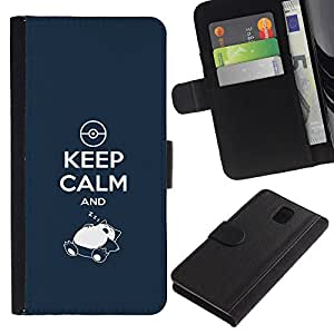 ULTIX Cases / Samsung Galaxy Note 3 III N9000 N9002 N9005 / FUNNY - KEEP CALM AND ZZZ / Cuero PU Delgado caso Billetera cubierta Shell Armor Funda Case Cover Wallet Credit Card