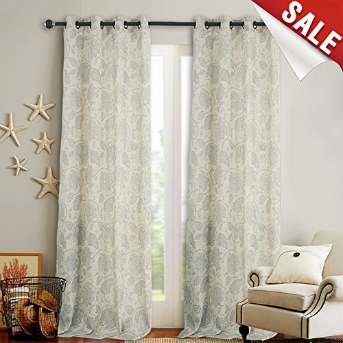 jinchan Floral Scroll Printed Linen Curtains Grommet Top – Ikat Flax Textured Medallion Design Jacobean Floral Curtains Retro Living Room Window Curtains (Grey, 95 Inch Long, 2 Panels) For Sale