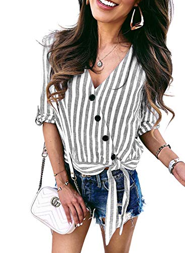 Asvivid Womens Summer Button Down Wrap V-Neck Stripe Printed Short Sleeve Shirt Blouses Self Tie Striped Printed Tops M Grey