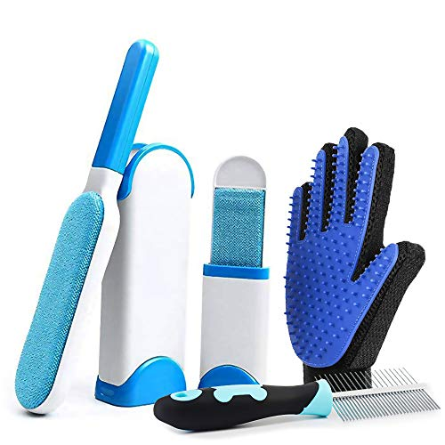Eraser Self Cleaning Rubber - Moikin 3 in 1 Dog & Cat Pet Hair Remover Kit, Reusable Double-Side Lint Fur & Dust Hair Removal Brush with Self-Cleaning Base & Grooming Glove & Comb, Tool Set for Clothes, Furniture, Carpet, Bed