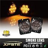 Xprite LED Side Maker Lights Smoke Lens for 2007 - 2017 Jeep Wrangler Amber Front Fender Flares Parking Turn Indicator Lamp