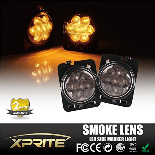 Xprite LED Side Maker Lights Smoke Lens for 2007 - 2017 Jeep Wrangler Amber Front Fender Flares Parking Turn Indicator Lamp (2007 Front Fender)