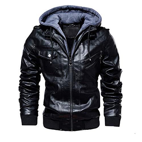 StyleV Men's Faux Leather Moto Jackets,Classic Biker Jacket Windproof Bomber Zipper Jacket with Removable Hood Black