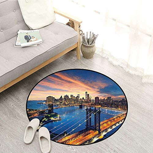 - Landscape Skid-Resistant Rugs American City Sunset Over Manhattan and Brooklyn Bridge Cityscape Picture Print Sofa Coffee Table Mat 3'7