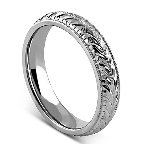 - Platinum 950 Hand Engraved Vintage Style Men's Wedding Band 6mm Wide