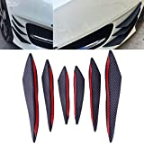 ZHUOTOP 6Pcs Carbon Fiber Style Car Front Bumper Lip Splitter Body Spoiler Canards