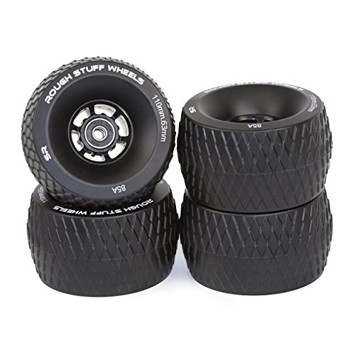 Slick Revolution Skate Wheels: 85A 110mm Rough Terrain Longboard/Electric Skateboard Wheels Set| Skateboard Cruiser Wheels with ABEC 7 Bearings| Firm Grip on Tarmac