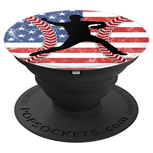Baseball Design American Flag Laces Love Red Blue Pitcher - PopSockets Grip and Stand for Phones and Tablets (Lace Pitcher)