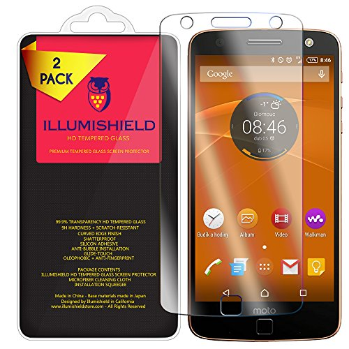 iLLumiShield Glass Screen Protector Compatible with Motorola Moto Z Force Droid (Verizon Droid Edition)(2-Pack) Anti-Scrach, Case Friendly and No-Bubble Clear Tempered Glass