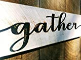 Americana Signs Gather Sign in Script Horizontal 40x10 - Carved in a Cypress Board Rustic Distressed Kitchen Farmhouse Style Restaurant Cafe Wooden Wood Wall Art Decoration