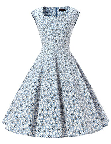 [Dresstells Women 1950s Retro rockabilly dress Vintage Audrey Swing Dress Light Blue Flower L] (1950 Dress)