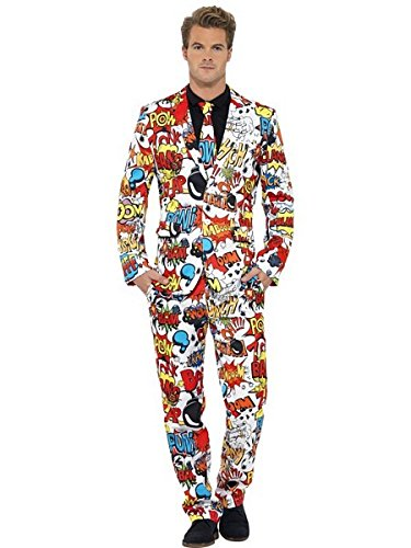 Smiffys Men's Comic Strip Suit, Jacket, pants and Tie, Stand out Suits, Serious Fun, Size M, 43526 -