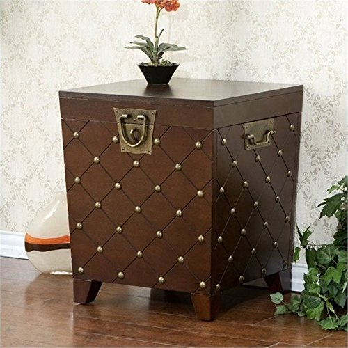 Nailhead End Table Storage Trunk - Expresso Finish w/ Decorative Handles - Transitional Style