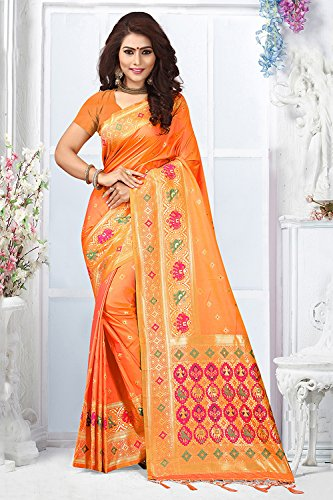Traditional Women for Sarees Orange Designer Wedding Facioun Indian Wear Da Sari Party Rq6wxAzC