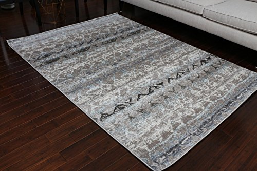 London Collection Oriental Carpet Area Rug Silver Grey Blue 5005BE 5x7 6x8 5'2x7'4