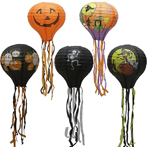 Hot Air Balloon Hanging Paper Lantern, Reusable Chinese Japanese Party Ball Lamps Decoration Wedding Birthday Anniversary Halloween Engagement, Set of 5