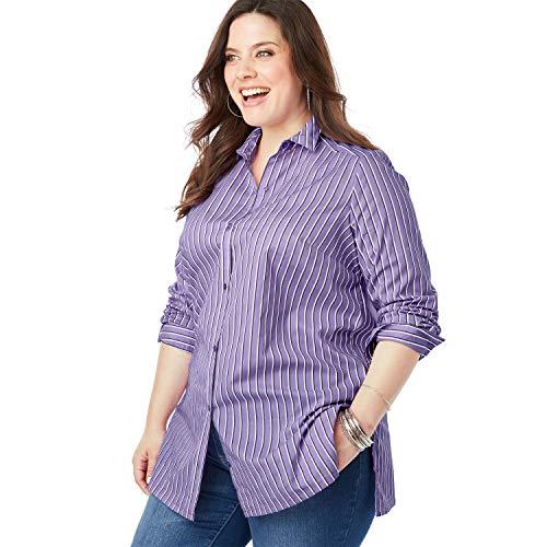 Roamans Women's Plus Size Kate Tunic - Lilac Stripe, 12 W