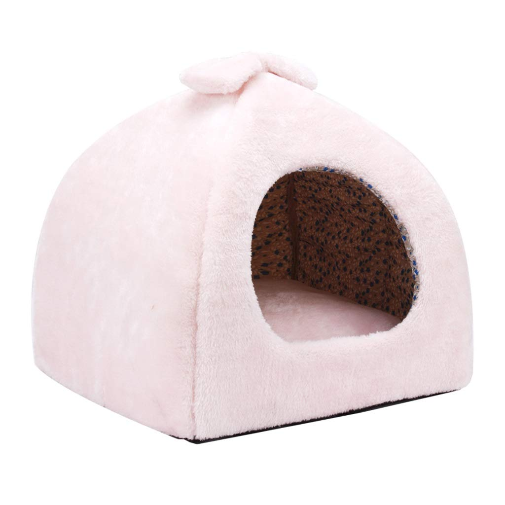 Pink Small Pink Small 2 In 1 Deep Sleep Cat Dog Pet Nest Small Dog Kennel Cat Litter Winter Warm PP Cotton Filled Pet House (color   Pink, Size   S)