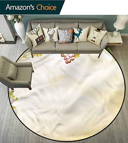 - RUGSMAT Vineyard Super Soft Circle Rugs for Girls,Grapevine Pattern Vintage Coffee Table Mat Non-Skid Living Room Carpet Round-24