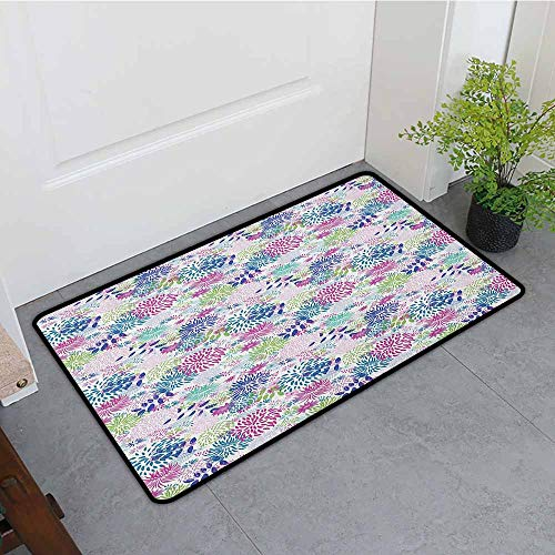 ONECUTE Washable Doormat,Nature Abstract Bedding Plants in Lively Colors Garden Rural Summer Field in Country Theme,Super Absorbs Mud,35