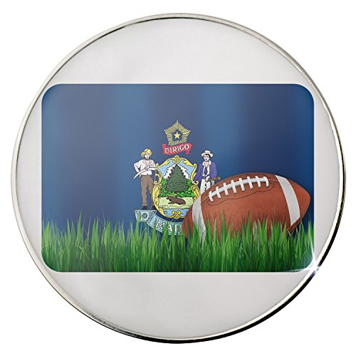 Floating Plate Charm for Glass Locket - Football with Flag Maine region America (USA) backplates by - America Football Backplate