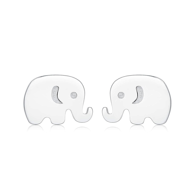 Kokoma 925 Sterling Silver Little Elephant Stud Earrings Tiny Cute Wedding Earring Hypoallergenic Jewelry