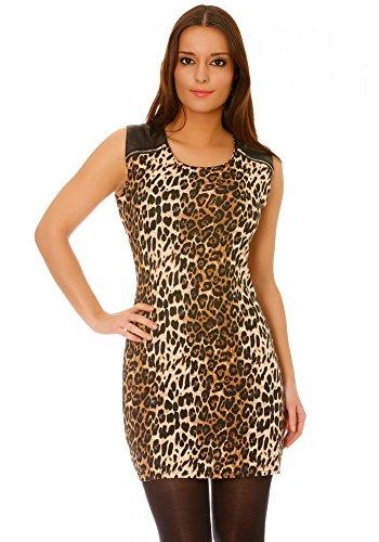 dmarkevous - Robe noire courte et moulante motif léopard à empiècement sky et zip sur les épaules - M-L, noir