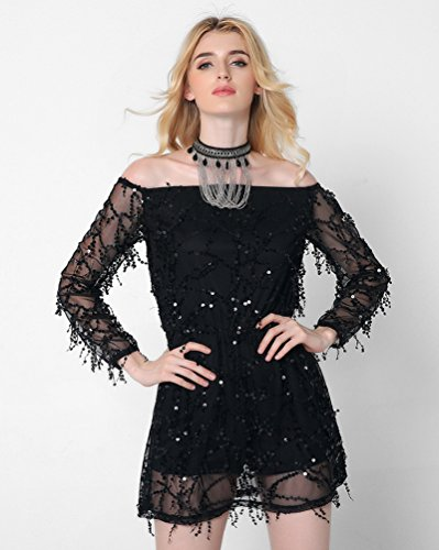 WanYang Mujer Moda Manga Larga Lentejuelas Borla Mini Vestido Off Shoulder Cóctel Fiesta Vestido de Noche Negro