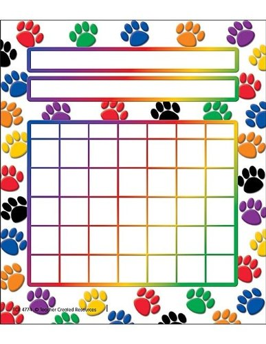 Incentive Charts For Teachers (Teacher Created Resources Colorful Paw Prints Incentive Charts)