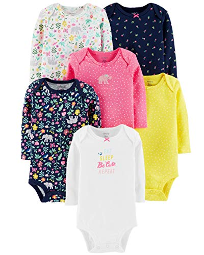 Carter's Unisex Baby Long-Sleeve Bodysuits (24 Months, 6 Pack Girls)