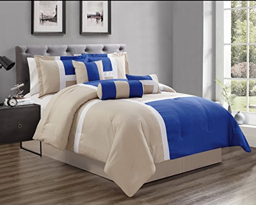 GrandLinen 5 Piece Oversize Royal Blue/Grey Patchwork All-Season Comforter Set Twin Size Microfiber Emma ()