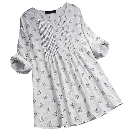 Sunhusing Women's Cozy Cotton Linen Large Size Tunic Tops Loose Polka Dot Print Long Roll Sleeve Shirt