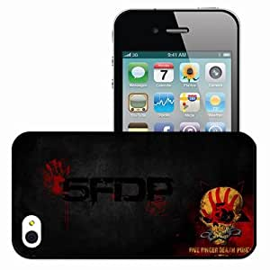 Personalized iPhone 4 4S Cell phone Case/Cover Skin 5 Finger Death Punch Logo Skull Sign Blood Black