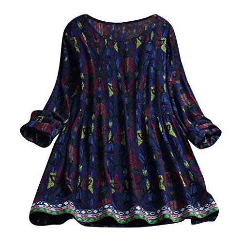 HYIRI Women's Casual Lightweight Loose Linen Sleeve Print Tanic Shirt Blouse Navy