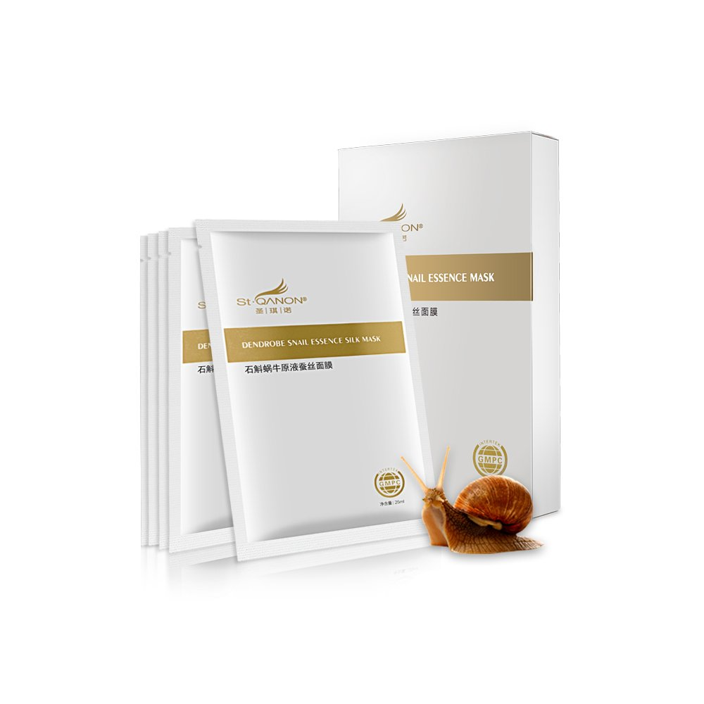 STQANON Deep Moisturizing Rich Snail Essence Facial Mask 5 individually packaged bundle - 100% Silk sheet, Anti-aging, Anti-Wrinkle, Deep Hydration, Snail Secretion Filtrate … Snail Secretion Filtrate ... Stqanon®