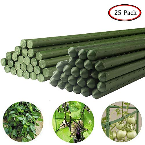 (Growsun 5-Ft Garden Stakes Metal Plastic Coated Plant Cage Supports Climbing for Tomatoes,Trees,Cucumber,Fences,Beans,25 Pack)