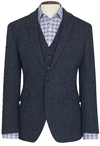 THE FINE SWINE Harris Tweed Coats (Midnight Blue Stranraer, 42R) (Harris Tweed Coat)