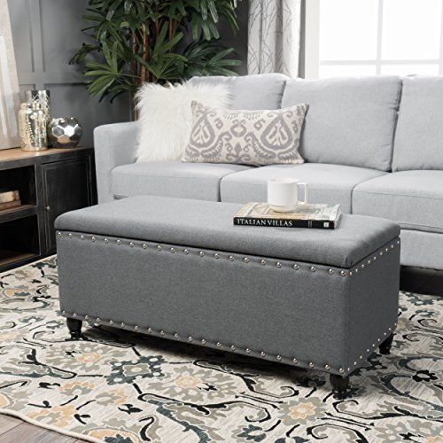 Christopher Knight Home 300237 Living Envy Oxford Grey Fabric Storage Ottoman, Charcoal