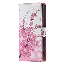 Huawei GR5 Phone Case,Huawei 5 X Cover,Honor GR5 Case,[Shock Absorbent][Anti-Scratch] Premium PU Leather Wallet Flip Protective Skin Case for Huawei X 5 Honor Phone Cover-Pink Plum blossom