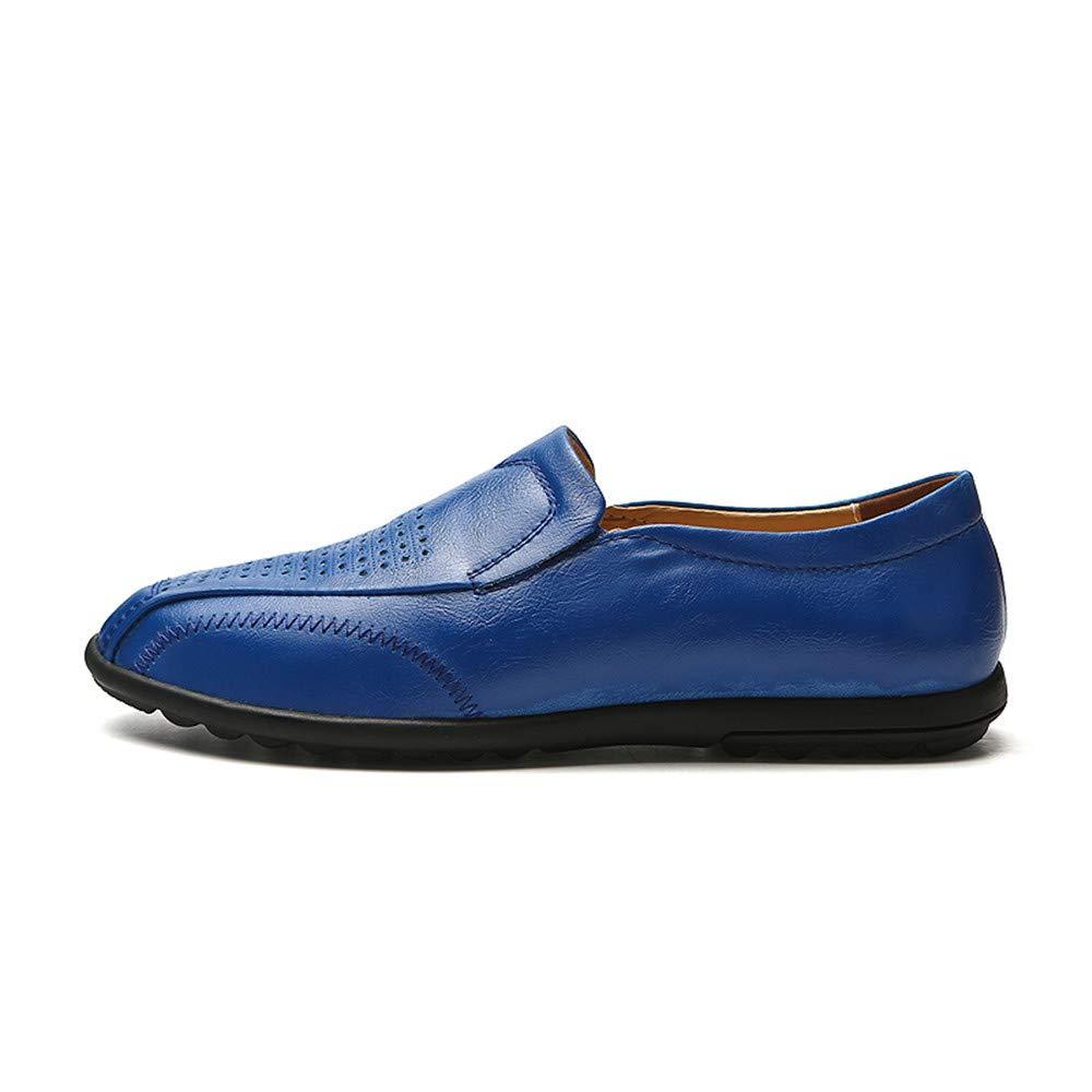 Xiazhi-shoes, Mocasines Ocasionales de la impulsión de los Hombres Mocasines Huecos Respirables del Barco de Cuero Suave Antideslizante de Gran tamaño, ...