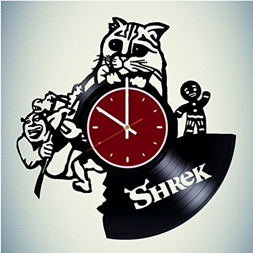 Cute Cat Shrek Vinyl Wall Clock Living Room Home Decor ()