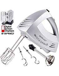 Hand Mixer Electric, MOSAIC 300W Powerful 6 Speeds Mixer Immersion Blender with Turbo and Eject Button 9 Min Continuous Operation Included 5 Stainless Steel Attachments