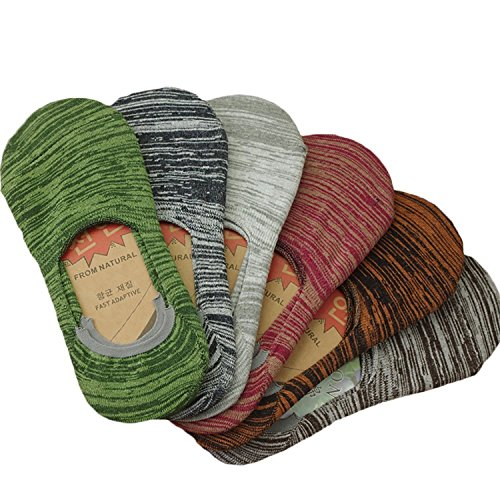 Mens Premium Cotton No Show Socks -Hidden Flat Boat Line with Anti-Slip Grip