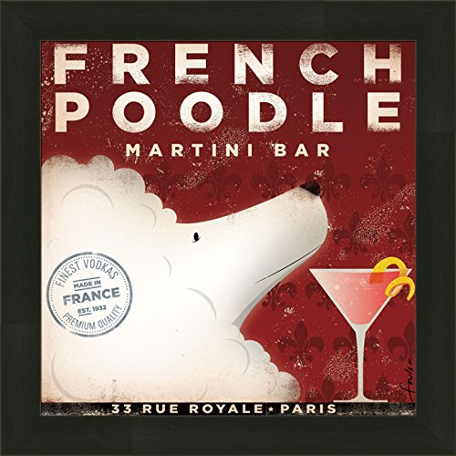 Home Cabin Décor French Poodle Martini Bar by Stephen Fowler 14x14 France Vodka Advertisement Ad Whimsical Sign Dog Puppy Framed Art Print - Dog Martini Art