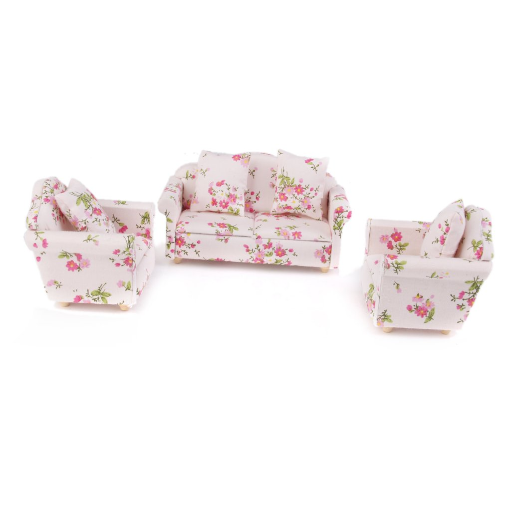 3pcs Casa De Munecas En Miniatura Sofa Sofa Floral Con Cojines De Almohada