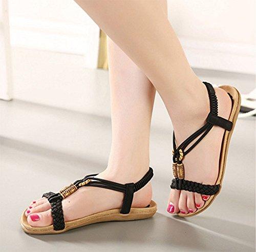 Chfso Dames Boho Elastische Linten Kralen Platte Sandalen Schoenen Zwart
